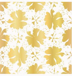 luxe white gold foil floral seamless vector image