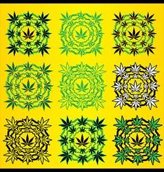 Marijuana leaves geometric design stamps vector