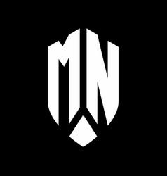 mn logo monogram with emblem shield style design vector image