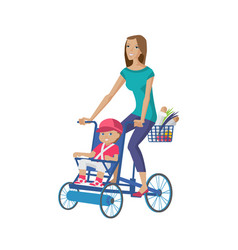 Mother walks with child rolls on bicycle buying vector