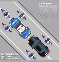 motorcade escorted police vector image