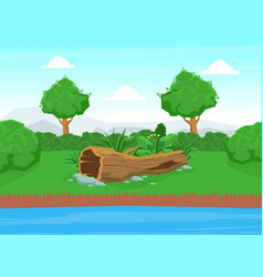 natural landscape with blue river green trees and vector image