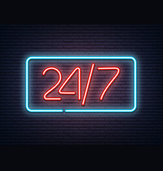 Neon luminous 24 7 signboard on grey bricklaying vector