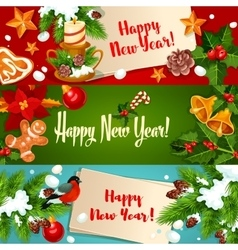 New Year banners and greeting cards vector