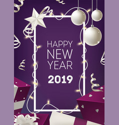 new year postcard template with frame decorated by vector image