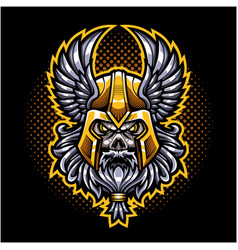 odin skull head mascot logo vector image