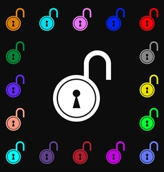 Open lock icon sign Lots of colorful symbols for vector