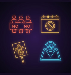 protest action neon light icon vector image