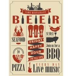 Pub menu with beer vector