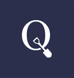 Q letter shovel spade logo icon vector