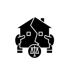 real estate law black icon sign on vector image
