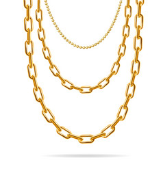 Realistic detailed 3d gold chain set vector