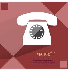 Retro telephone Flat modern web button on a flat vector image