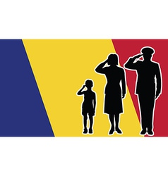 Romania soldier family salute vector image