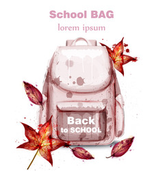 school bag watercolor pink satchel and vector image