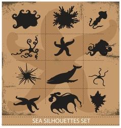 Sea animals silhouettes underwater symbols set vector image