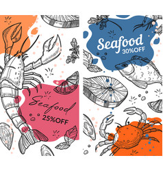 Seafood 25 percent off reduction price vector