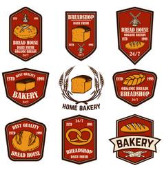 set bakery bread shop emblems design element vector image