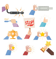 Set cartoon hands with objects vector