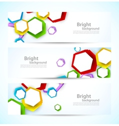 Set of banners with colorful hexagons vector