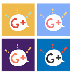 Set of flat google plus icons on background vector