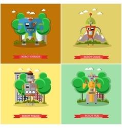 set of robots flat style design vector image
