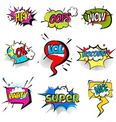 set of stickers bubbles with text short messages vector image