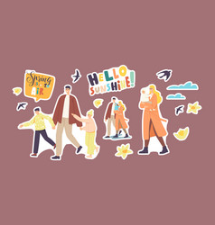 set stickers parents with children characters vector image