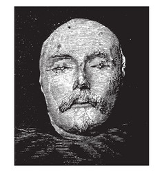 Shakespeare death mask frontal view vintage vector