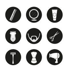 Shaving black icons set vector image