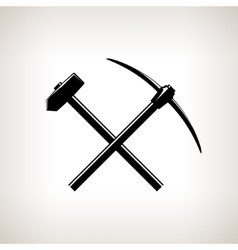 Silhouette of a Crossed Pickaxe and Sledgehammer vector