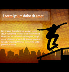 Skateboarder silhouette over abstract background vector