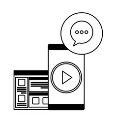 Smartphone device with webpage and speech bubble vector