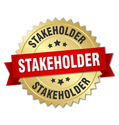 Stakeholder round isolated gold badge vector