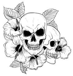 Tattoo anatomy vintage floral skull vector