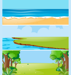 Three nature scenes at daytime vector