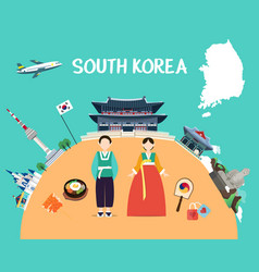 Traveling to south korea with landmarks and map vector