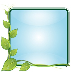 Twig with leaves in square frame vector image