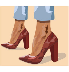 Two tanned women legs in red high heels and light vector