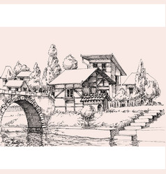 village houses on a water channell hand drawing vector image