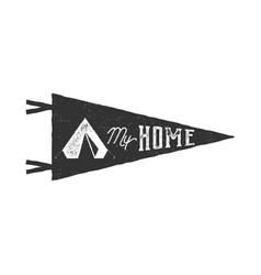Vintage hand drawn pennant template tent is my vector