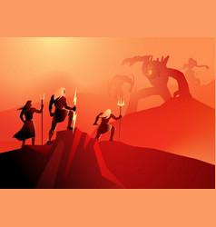 wars between titans and olympians vector image