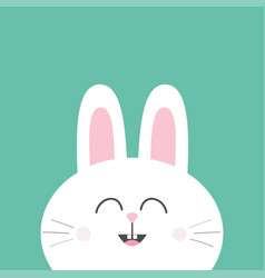 white bunny rabbit with long ears cute cartoon vector image