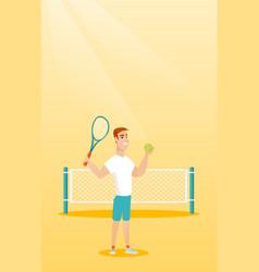 Young caucasian tennis player vector
