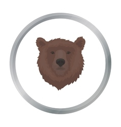 Brown bear muzzle icon in cartoon style isolated vector