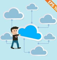 Cartoon Business man holding cloud with cloud vector image