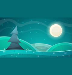 cartoon night landscape fir moon vector image vector image