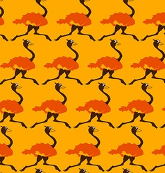 Seamless Pattern With Running Ostrich vector image vector image