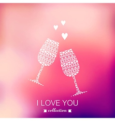 champagne silhouette Valentines Day background vector image vector image