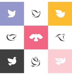 Dove Set of elegant icons and logos vector image vector image